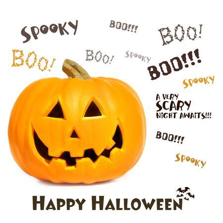 Calabaza de Halloween con frases sobre fondo blanco  Foto de archivo - 3621858