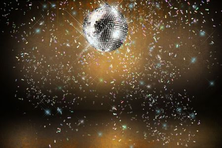 70s disco: Disco ball with lights and confetti party background