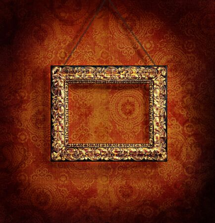 Gilded picture frame on antique wallpaper background Stock Photo - 3632739