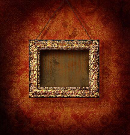 골동품 벽지 배경에 도금 한 그림 프레임 스톡 콘텐츠