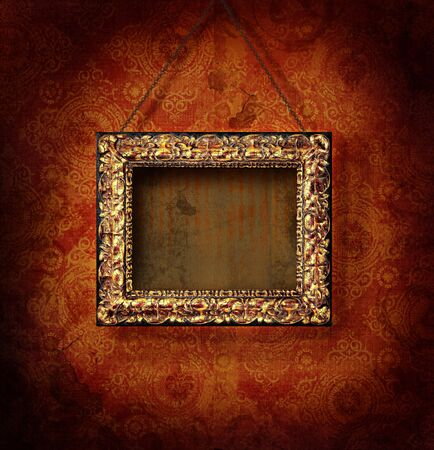 photography backdrop: Gilded picture frame on antique wallpaper background