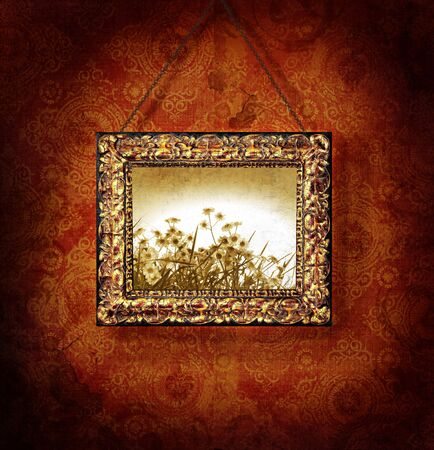 Gilded picture frame on antique wallpaper background 스톡 콘텐츠 - 3632738