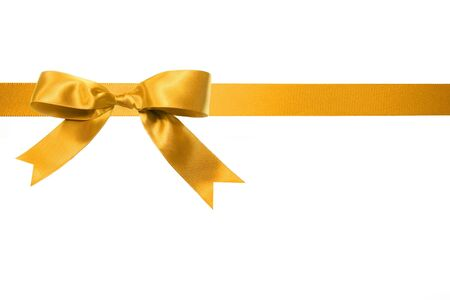 copy space: Gold holiday gift bow isolated on white background  Stock Photo