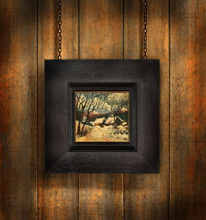 Dark wood frame against distress wood background Stock Photo - 3733860