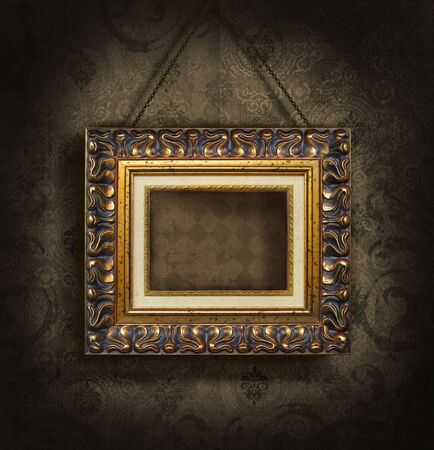 Gold picture frame on antique wallpaper background Stock Photo - 3733857