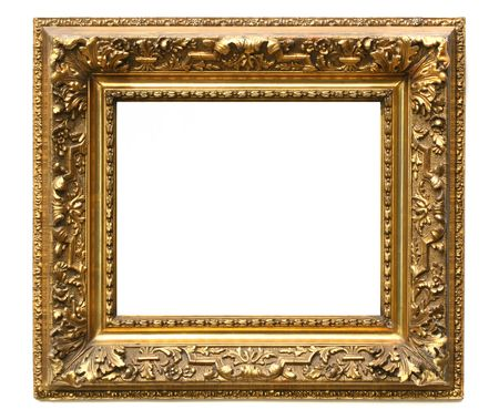 dirty room: Old cracked gilded frame on white background