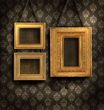 golden texture: Three gilded frames on antique wallpaper background