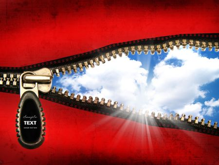 Detail of an opened zipper with a blue sky Stock Photo - 3800457