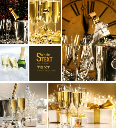 new years day: Collage of champagne images for New Years