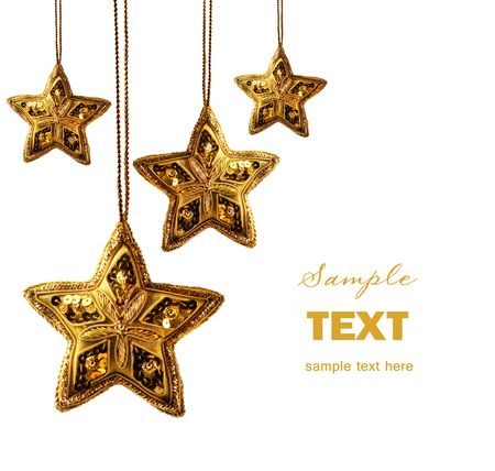 shiny background: Gold beaded stars isolated on white background