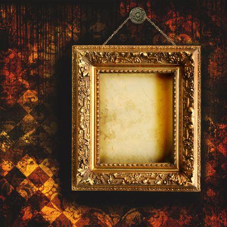 Grunge zerfetzte Tapeten mit leeren Bilderrahmen Standard-Bild - 3899333