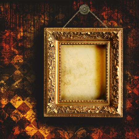 simple frame: Grungy tattered wallpaper with empty picture frame Stock Photo