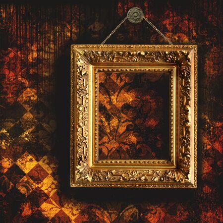 빈 그림 프레임 지저분한 너덜 된 벽지