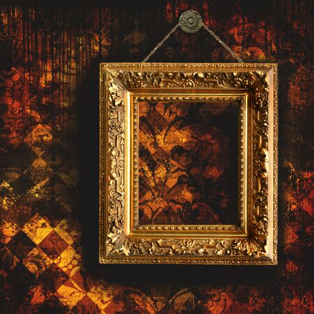 Grungy tattered wallpaper with empty picture frame Stock Photo - 3899334