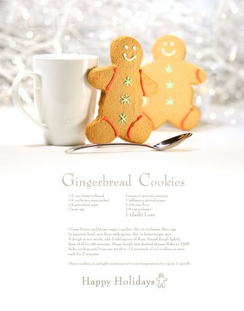 gingerbread cookies: Hot holiday drink with gingerbread cookies on festive background