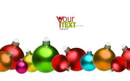 christmas gift: Colored christmas glass balls isolated on white background
