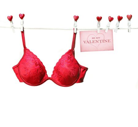 Fancy red bra hanging on clothesline with white background Stock Photo - 3941602