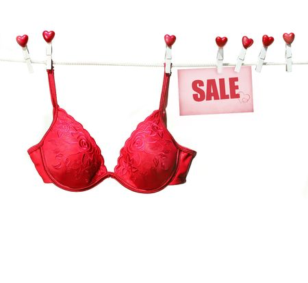 Fancy red bra hanging on clothesline with white background Stock Photo - 3941611