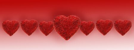 beaded: Red beaded hearts isolated against white background Stock Photo