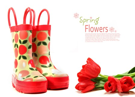 rain boots: Childs rain boots with tulips on white