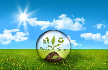 environmental responsibilities: Glass sphere with plant in a field of tall grass Stock Photo