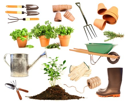 Variety of objects for spring planting on white background Stock Photo
