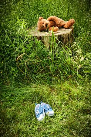 Little stuff teddy bear laying on an old tree stump Stock Photo - 4116761