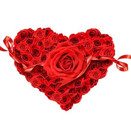 with fondness: Red roses in the shape of heart on white background
