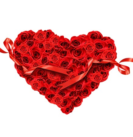 celebrate: Red roses in the shape of heart on white background