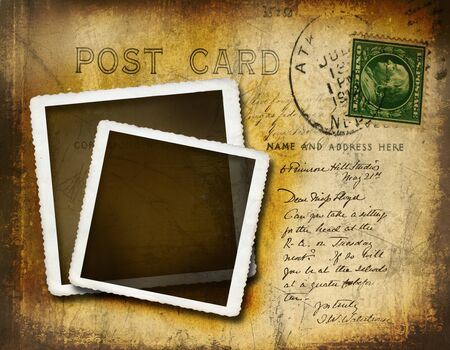paperboard: Vintage postcard with grungy background effect