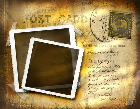 postcard: Vintage postcard with grungy background effect