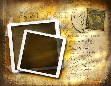 Vintage Postkarte mit Grunge Hintergrund Wirkung Standard-Bild - 4350953