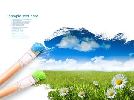 pinsel: Wild G�nsebl�mchen im Gras Sommer mit blauem Himmel Lizenzfreie Bilder