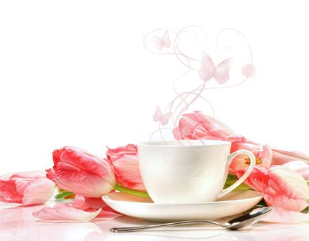 pink tulips: Tea cup with pink tulips on white background