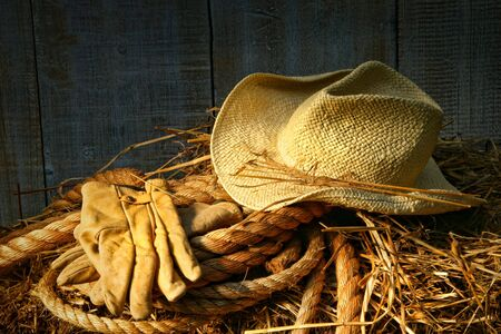 Straw hat with gloves on a bale of hay in barn