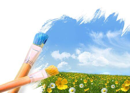 La pintura de un campo lleno de flores silvestres en un d�a de verano Foto de archivo - 4611106