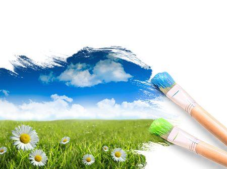 Schilderij van een landschap met zomer blauwe hemel