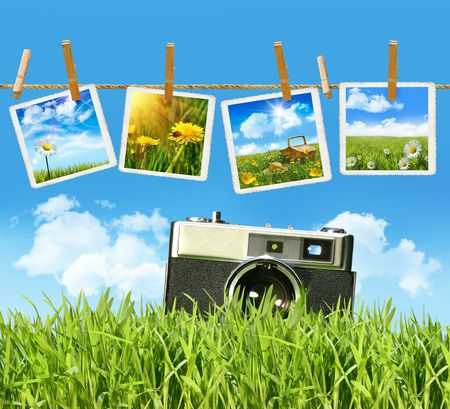 Tall grass with old vintage camera and pictures on clothesline