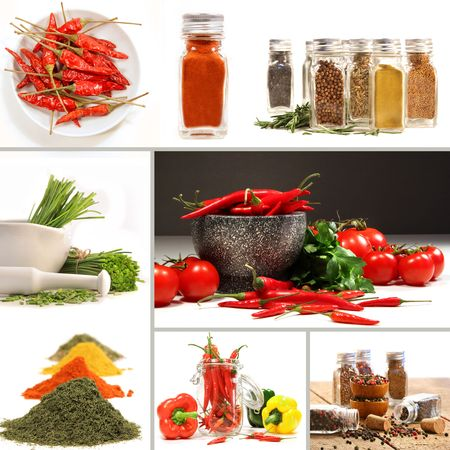 Bottles of colorful spices with grey background photo