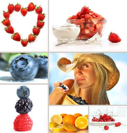 Collage of fresh summer fruits on white background photo