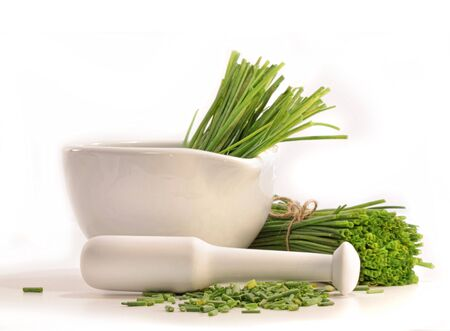 chives: Fresh cut chives with a mortar and pestle on white
