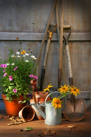 garden tool: Garden shed with tools and flower pots  Stock Photo