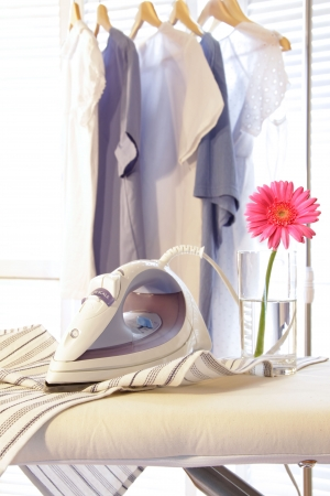 Iron with flower on ironing board in sunny room Stock Photo