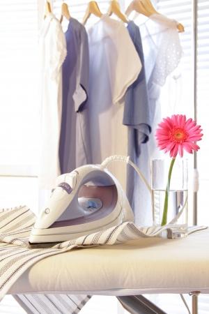 Strijkijzer met strijkplank bloem op in het zonnige kamer