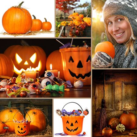 Halloween and autumn collage of pumpkins, candies and foliage photo