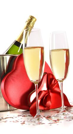 Champagne glasses with valentine gifts on white background Banco de Imagens - 6242864