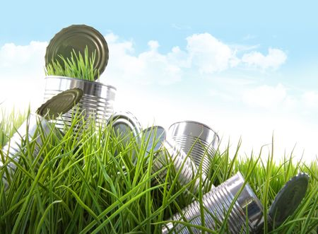 Empty food cans in grass with blue sky and clouds