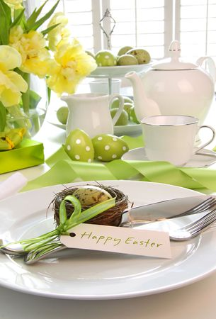 a place of life: Place setting with place card set for easter brunch