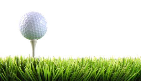 Golf ball with tee in the grass on white Stock Photo