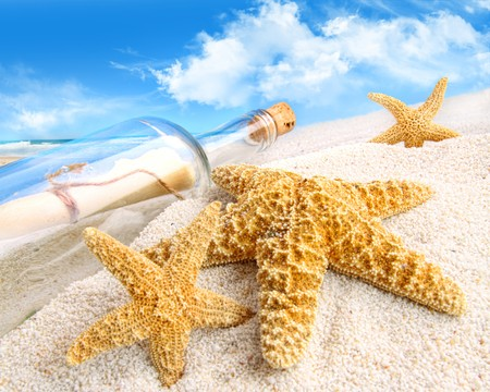 Message in a bottle buried in sand on a beach Stock Photo - 7090641
